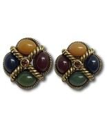 Joan Rivers Earrings Cabochon Stones w/ Amber Topaz Rhinestone Rope Design Pair - $48.50