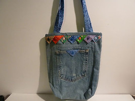 Back Pocket Tote Bag made from Recycled Jeans Decorated w Prairie Points - $11.65