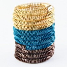 NEW 3.75 Inch Wide Blue Teal Brown Gold Mesh Tri-Tone Stretch Bracelet S... - $8.39