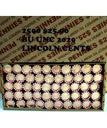 2500 Copper Lincoln Cents Pennies - Full Box 50 Rolls 1959-1982 Hand-Rolled  - $59.39