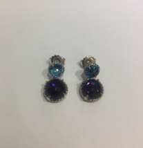 David Yurman Chatelaine Double Drop Earrings with Black Orchid and Blue Topaz - $660.00
