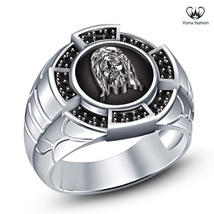 White Gold Plated 925 Sterling Silver Round Black CZ Men's Band SPL Jesus Ring - $113.02