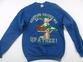 True Vintage 80s Humorous Hunting Blue Sweat Shirt by Jerzees Size M 38-40 - $21.41 CAD