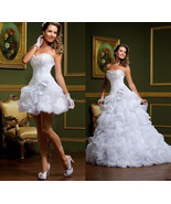 Sweetheart Organza Ruffled Wedding Dress with Removable Skirt - $499.99