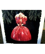 1993 Hallmark Ornament Debut Happy Holidays Barbie 1st in Series Red Dre... - $12.82