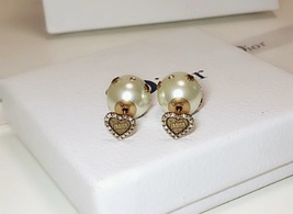 "Authentic Christian Dior Crystal Heart Tribal ""DIOR TRIBALES"" Earrings Gold image 5"