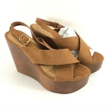 Soda Womens Sandals Wedge Platform Faux Leather Ankle Strap Open Toe Brown 9 - $24.18