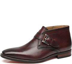 Handmade men s brown formal boot  men s monk strap boot  leather ankle high boot thumb200