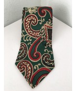 Polo Ralph Lauren Paisley Mens Tie 100% Silk Green Red Ivory Hand Made i... - $29.69