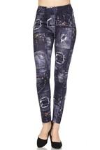 Cali Chic Juniors' Leggings Celebrity Knit Denim Print Yummy Brushed Ank... - $15.99