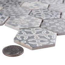 """SomerTile FTC2MDBL Medley Hex Porcelain Mosaic Floor and Wall, 11.125"""" x 12.625"""" image 6"""
