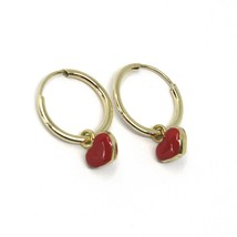 18K YELLOW GOLD CIRCLE HOOPS 13 MM EARRINGS WITH RED ENAMEL MINI HEART PENDANT image 1