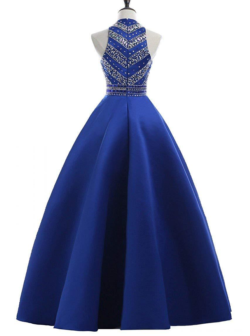 Satin Sequins Evening Party Gowns Beading Formal Prom Dresses Long with Pockets