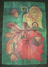 Pretty fall harvest fabric 2-sided garden flag with leaves & acorns - EU... - $3.99