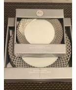 Ciroa Luxe Metallic Silver Lattice Dinner Salad Plates Set 8 ~NEW ~ - $89.99