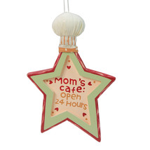 "Kurt Adler ""Mom's Cafe Open 24 Hours"" Star Shape Chef Hat Christmas Orna... - $6.67"
