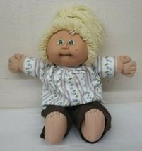 """1985 Oaa 16"""" Cabbage Patch Kid Doll Blonde Hair Green Eyes Ok Coleco Factory - $95.95"""