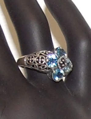 Sterling setting with Aquamarine stones ring