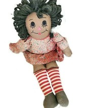 Black American Vintage Rag Doll Soft Cotton Stripe Socks Red Floral Dress - $24.65