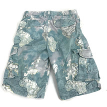 Gap Boy's Children's Light Blue World Map Print Cotton Cargo Shorts Size 14 - $12.16