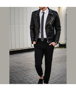 New Men Fashion Trend Black Motorcycle Leather Jacket, Men Fashion Biker... - $179.97