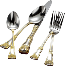 Old Country Roses Stainless Steel 20 Piece Flatware Set Golden Hand Washing - $108.44