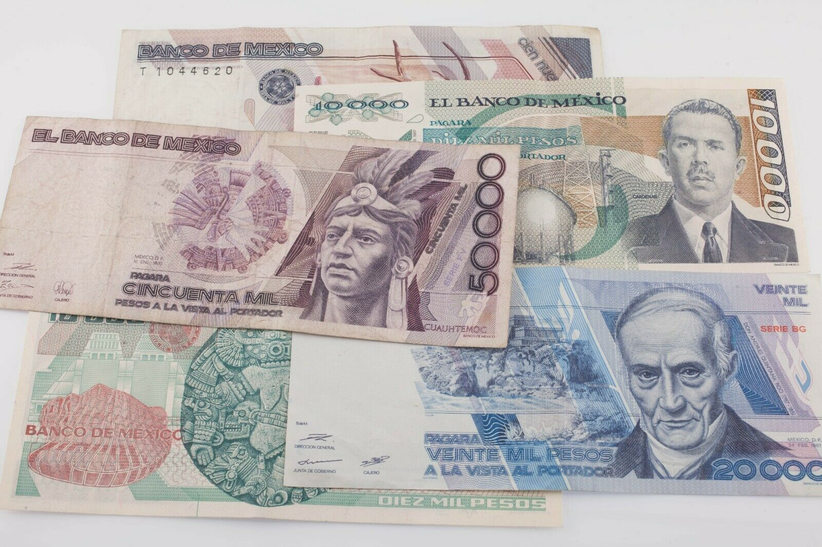 México Lote de 4Notas 1987 y 1990 2 Secuencial 10,000 Pesos Vf-Au Estado
