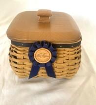 Longaberger Blue Ribbon Mending Basket 10675 2 protectors lid Signed 3 f... - $78.39