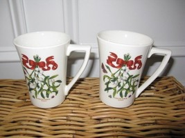 2 Portmeirion MISTLETOE Mandarin Mugs NWT - $56.00