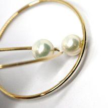 18K YELLOW GOLD CIRCLE HOOPS EARRINGS, TUBE 1.5mm, DIAMETER 5cm, HANGING PEARL image 3