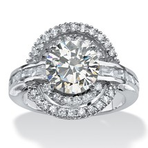 PalmBeach Jewelry 4.21 TCW Round CZ Circle Ring in Platinum over .925 Si... - $18.15