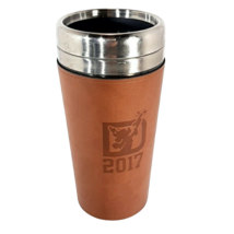 """Disney 2017 Travel Mug with Leather Removable Sleeve Mickey Mouse 7"""" - $15.95"""