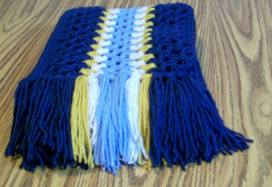 Handmade, Long Crochet Scarf With Fringe, Fashion Scarf, Accessories, Winter
