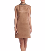 VINCE CAMUTO Beaded Collar Faux Leather Suede Shift Dress (Size 10 ) NWT... - $50.49