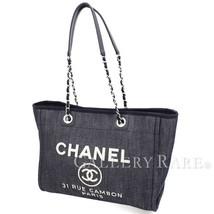 CHANEL Deauville Line Medium Shopping Bag Denim Canvas A67001 Authentic ... - $1,751.48