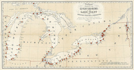 1884 Map Nautical Chart Showing Lighthouses of the USA Lake Coast Poster... - $13.00+