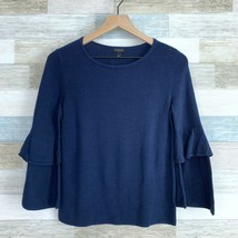 Talbots Tiered Flare Sleeve Sweater Navy Blue Scoop Neck Cotton Womens S... - $35.63
