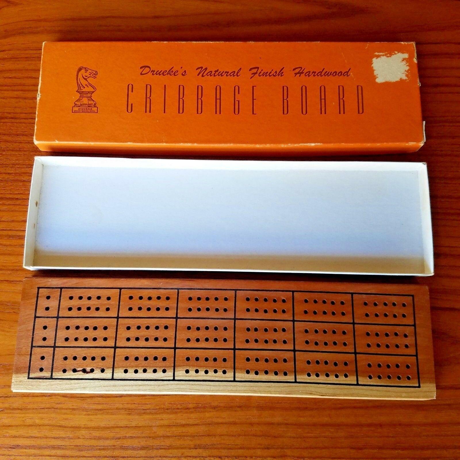 Vintage Drueke's Natural Finish Hardwood Cribbage Board #2050 In Box w Pegs - $18.37