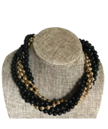 80s Givenchy Signed Black & Gold Wood Bead Gold Plated Multi Strand Twis... - $100.00