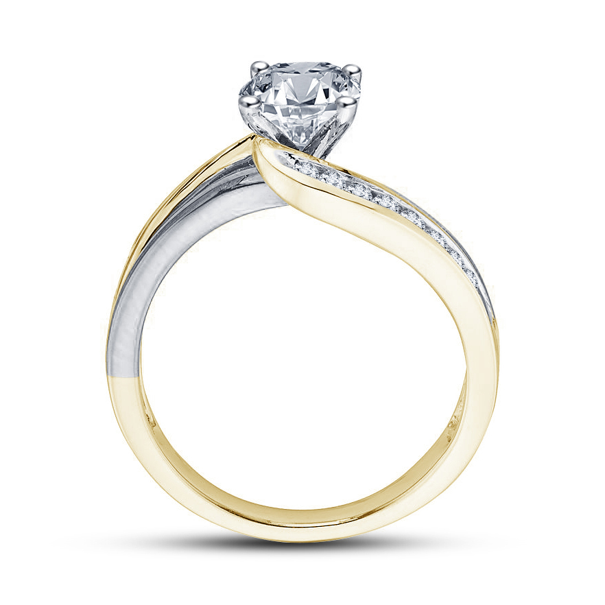 Promise Women's Engagement Ring Diamond Two Tone Plated Pure 925 Sterling Silver