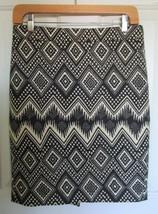 J. Crew Black Tan Graphic Textured Basketweave Pencil Skirt Size 0 Diamo... - $18.67