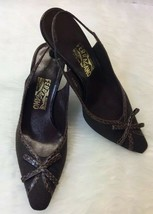 Salvatore Ferragamo Womens Shoes Herringbone Slingback Bows Brown Sz 8.5 2A - $21.77