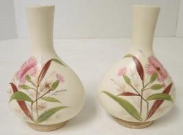 Pair of Antique 1880's Royal Rudolstadt Pink Flowers Bud Vases - $47.49