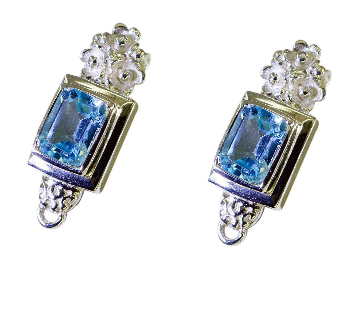 resplendent Blue Topaz 925 Sterling Silver Blue Earring genuine wholesale US