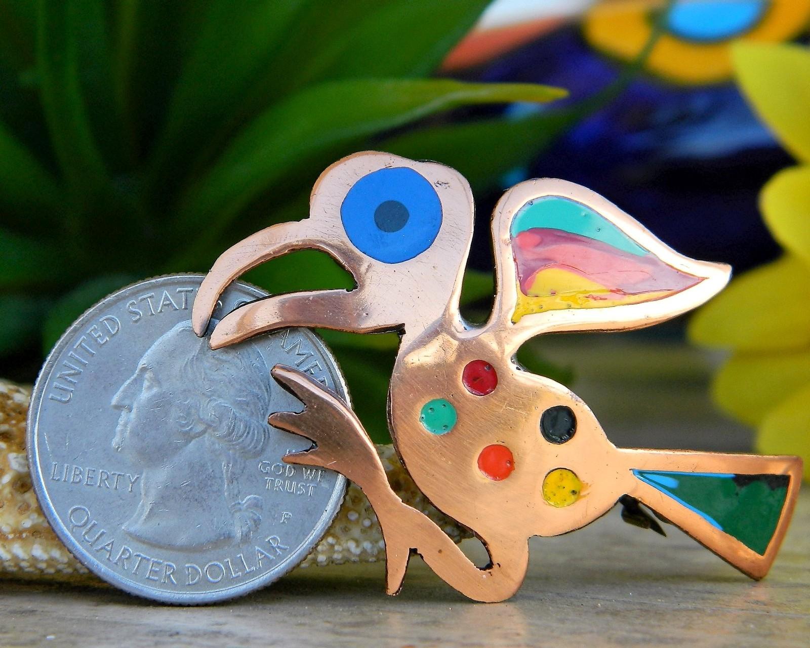 Vintage Bird Brooch Pin Colorful Enamel Copper Abstract Peruvian Peru