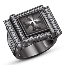 10K Black Gold Finish 925 Silver Mens Diamond Engagement Wedding Pinky Band Ring - $182.99
