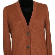 Ann Taylor LOFT Med Cardigan Sweater Burnt Orange Long Sl Lightweight Wo... - $19.95