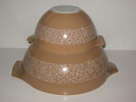 Lot 2 Vintage Pyrex Glass Mixing Nesting Bowls Set Woodland Beige #441 &... - $18.77