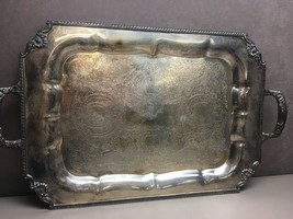 "Vintage Ornate Silver on Copper Plated Double Handle Serving Tray 20.75""... - $63.60"