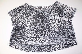 W11315 Womens EXPRESS boatneck leopard print crop KNIT TOP, short sleeve, LARGE - $5.95